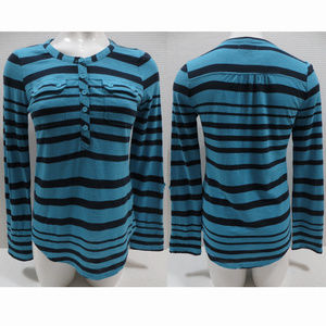 Lucky Brand top Small striped henley curved hem